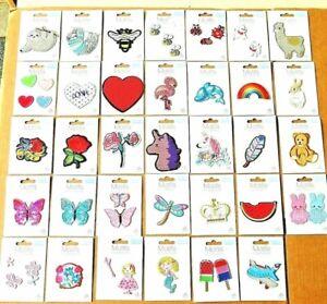 Iron On Motif Applique Bee Butterflies Ladybirds Cat Dog Sheep Bird Children's