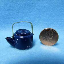 Dollhouse Miniature Tea Pot / Kettle in Blue Spatterware ~ IM65397
