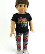 "Doll Clothes AG 18"" Pants Tribal Elephant  Top Black Fits American Girl Doll"