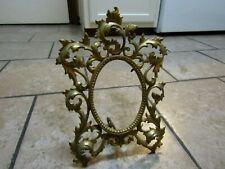 Vintage Ornate Solid Brass Victorian Picture Photo Frame Easel Back Gold