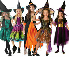 Girls Wicked Witch Costume Childrens Halloween Witches Fancy Dress Outfit + Hat