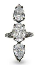 925 Sterling Silver Ring White Oval Pear Three Stone Solitaire Cz New-À la carte