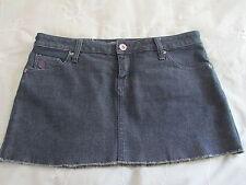 Volcom Liberated Blue Dark Wash Denim 4 Pocket Raw Hem Mini Skirt NWOT SZ: JR. 7