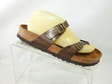 Birkenstock Sz 9 M Brown Leather Double Buckle Strap Slip On Sandals Women Shoes