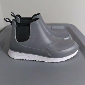 Capelli New York Women's Size 11 Shoes Gray/Black Slip On Ankle Rubber Rain Boot