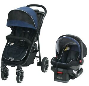 Graco Aire4 XT Travel System Stroller Knox Blue Stroller & Snugride 35 Car Seat