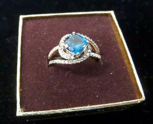 Le Vian Deep Sea Blue Topaz + Vanilla Diamonds 14k Strawberry Gold Ring