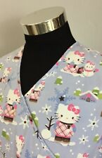 Hello Kitty by Sanrio Women's Medium Crossover Scrub Top Winter Scene (B22)