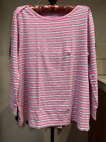 J.Crew Boatneck Painter T-Shirt Multi-Color Stripe Long Sleeve Women's Medium