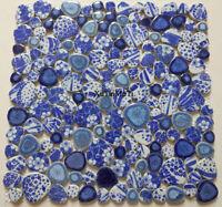 11PCS blue and white porcelain pebble mosaic kitchen backsplash decoration tile