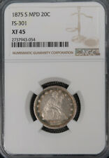 1875-S Seated Liberty Silver $20C MPD FS-301 Die Variety NGC XF Top Pop *1918