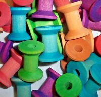 """25 Colored Parrot Bird Toy Parts Wood Spools 1-1/8"""" Wood Hourglass Spools"""