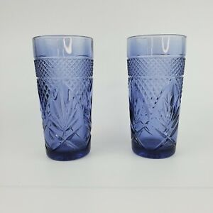 """Amethyst Cristal d'Arques-Durand VTG 6 1/4"""" Glasses Luminarc Set of 2 Tumblers"""