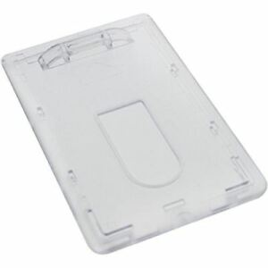 3 Heavy Duty Vertical ID Badge Holders - Rigid Hard Clear Plastic- HOLDS 1 CARD