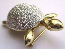 Bijou rétro belle broche signée couleur or et argent tortue effet diamanté 3021