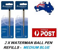 2 X WATERMAN BALLPEN BALL POINT PEN REFILL REFILLS MEDIUM BLUE MADE IN FRANCE