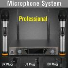 LCD Dual Channel UHF Hand Held 2 Wireless Handheld Microphone Mic System Kit New