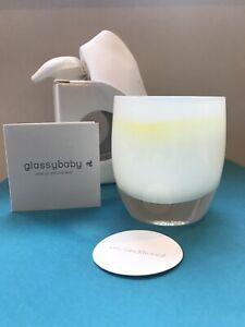 Glassybaby Unconditional White Yellow Handblown Glass Candle Holder New/Gift Box