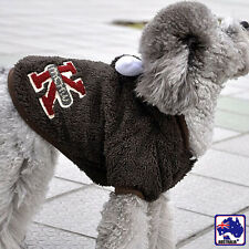 S Brown Pet Dog Costume Clothes Fleece Clothing Cow Hoodie Jumpsuit PWEAR1082