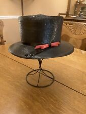 Adolfo Ii Vintage Straw Hat black with black band red bow