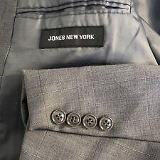 Jones New York double breasted gray windowpane 2 piece suit men size 40r 34x27