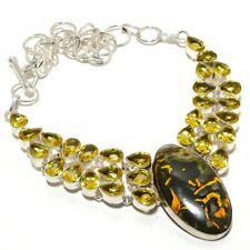 """Bumble Bee Jasper, Citrine Gemstone 925 Sterling Silver Jewelry Necklace 18"""" HS"""