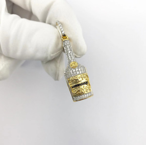 Sterling Silver (18ct Yellow Gold Plated) Cognac Bottle Pendant set with Cubic Z