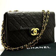 "CHANEL Authentic 13"" Maxi XL Jumbo Black 2.55 Flap Chain Shoulder Bag Lamb d55"