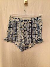 womens billabong tiedye shorts blue and cream SIZE MEDIUM