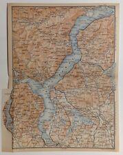 Stampa antica mappa Lago Maggiore Varese Lago D'Orta Lombardia 1904