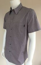 PAUL SMITH JEANS TAILORED FIT DARK RED & WHITE CHECK SHORT SLEEVE SHIRT SIZE XL