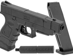 Replika Glock 17 mit Schalldämpfer PA66 Softair / Airsoft 6mm BB < 0,5 Joule NEU