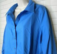 Women's Coldwater Creek Blue No Iron Button Front Top Plus Size 1X (18) Cotton