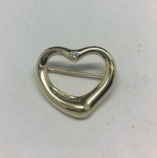 Tiffany & Company 18K Yellow Gold Elsa Peretti Open Heart Brooch With Diamond