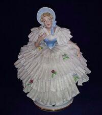 ANTIQUE DRESDEN LACE Gerold Tettau German Southern Belle Woman Figurine BAVARIA