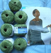 7+ skeins BERROCO LATITUDE, cotton Blend Yarn & knitting book #282