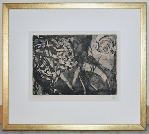Original Signed Etching By Unknown Artist Abstract Landscape