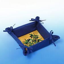 wunderschöner  Brotkorb Blau mit Oliven, Baumwolle  ca 20x20 cm NEU
