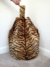 Bean bag cover only adult tiger print luxurious soft faux fur 6 cubic ft size.
