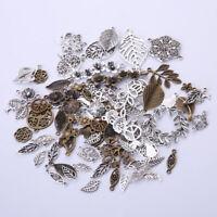 Leaf Flower Antique Charms Pendant Necklace Bracelet Jewelry Craft DIY Making