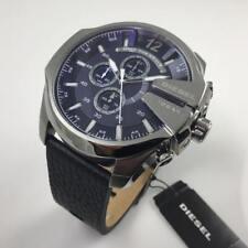 Diesel Herren Uhr Chronograph DZ4423 Leder Schwarz Blau - Neu mit Etikett