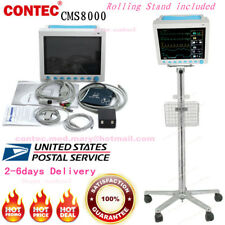 CONTEC ICU patient Monitor with Rolling Stand RESP TEMP PR ECG SPO2 NIBP