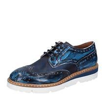 Herren schuhe +2 MADE IN ITALY 40 EU elegante blau leder BT698-40