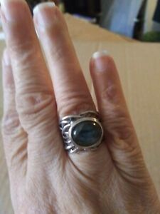 Labradorite wide open band ring Stering Silver Sz.6