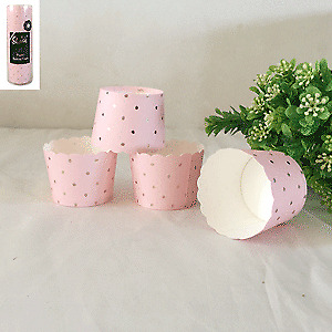 Pink Dotty Baking Cup with Gold Foiled Pack of 25 BIRTHDAY PARTY SUPPLIES