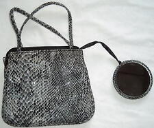 Tri-Coastal Design Cute Soft Faux Snakeskin Bag With Attached Matching Mirror