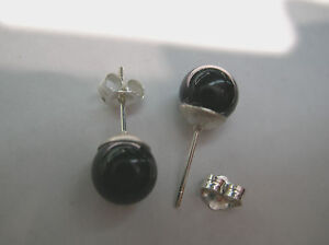 Top Quality natural Black Onyx ball stud earrings w/heavier Sterling Silver-8 mm