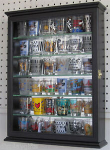 Shot Glass Shooter Display Case Wall Cabinet Shadow Box with door, SCD06B-BLA