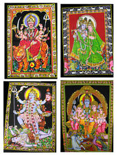 10pc Indian God Goddess Sequin Batik Painting Cotton Wall Hangings Wholesale Lot