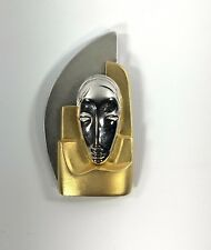 Vintage Les Bernard Art Deco Style Brooch Pin Face Mask Gold Silver Tone